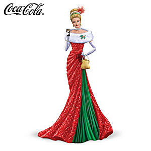 "COCA-COLA ""Deck The Halls"" Elegant Christmas Lady Figurine"