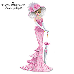 Thomas Kinkade Breast Cancer Awareness Lady Figurine