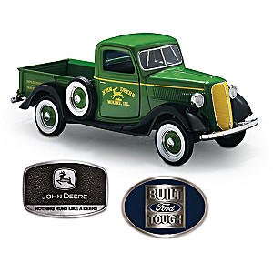 1:25-Scale John Deere Ford Diecast Truck Plus 2 Belt Buckles