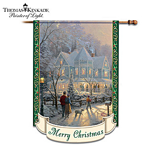 "Thomas Kinkade ""A Holiday Gathering"" Christmas Flag"