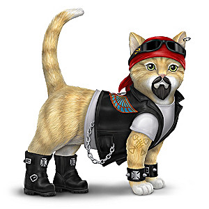 """""""Dawg Crusher"""" Biker Cat Figurine In Full Biker Gear"""