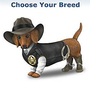 """""""Sher-ruff S. Paws"""" Cowboy Dog Figurine: Choose Your Breed"""