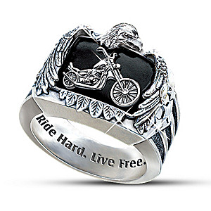"""""""Ride Hard, Live Free"""" Motorcycle Men's Ring"""