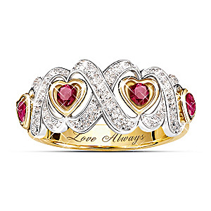 """Hearts And Kisses"" Engraved Ruby And Diamond Ring"