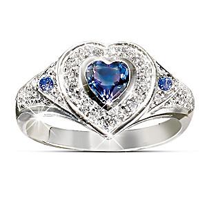 Tanzanite And Diamond 10K White Gold Heart Ring