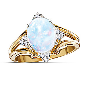 One Carat Australian Opal And Diamond Ring