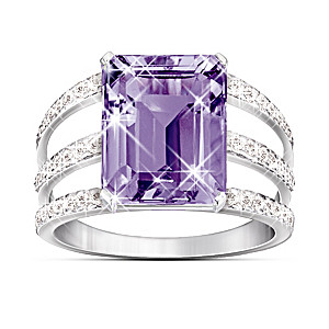 Triple Band Purple Amethyst And Diamond Ring
