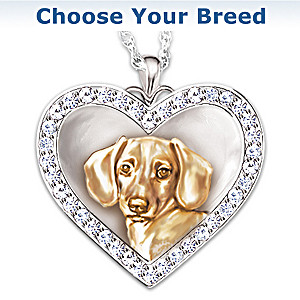 """My Devoted Friend"" Dog Pendant With Crystals"