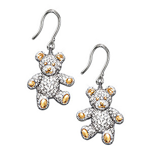 Teddy Bear Earrings With 200 Swarovski Crystals