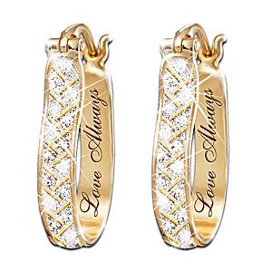 """""""For Love, Always"""" Engraved Diamond Earrings"""