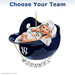 Choose Your MLB Team: Personalized Baby's Christmas Ornament