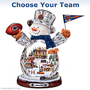 """Choose Your Team"" NFL Crystal Snowman With Moving Train"