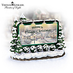 Thomas Kinkade's Village Christmas Illuminated Welcome Sign