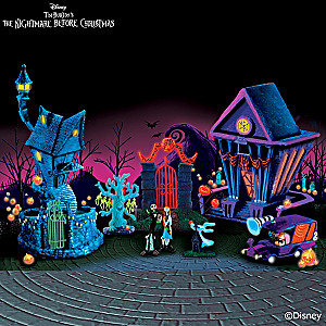 The Nightmare Before Christmas Black Light Village Set