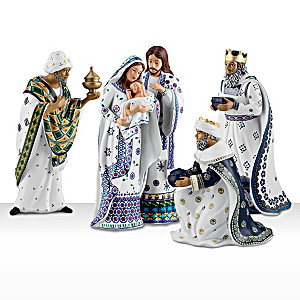 Silent Night Polish Stoneware-Inspired Nativity Figurine Set