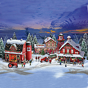 Farmall Illuminated Holiday Village Set With Figurines