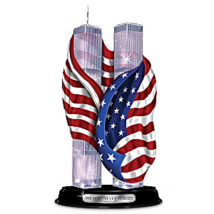 Commemorative Illuminated Twin Towers With American Flag