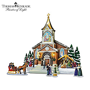 Thomas Kinkade Illuminated Musical Christmas Sculpture Set