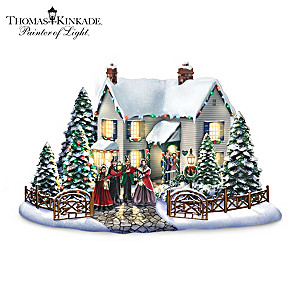Thomas Kinkade Christmas Village Set With Singing Carolers
