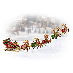 """Santa With His Reindeer"" Christmas Village Accessory"