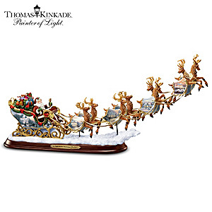 Kinkade Soaring Santa In Sleigh Lighted Figurine