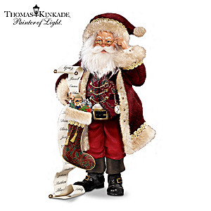 "Kinkade ""Naughty Or Nice"" Santa Figurine With Fabric, ""Fur"""