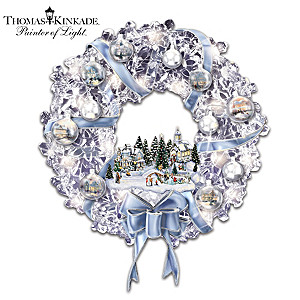 Kinkade Lighted Crystalline Wreath With Ornaments, Village