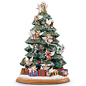 Cat lovers illuminated tabletop christmas tree purr fect Christmas tree cat tower
