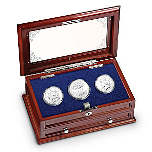 1878, 1935, And 2009 U.S. Silver Dollars With Display Box