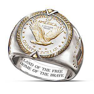 Genuine 90% Silver Quarter Engraved Men's Ring