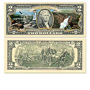 Genuine U.S. $2 Bills Honoring America's National Parks