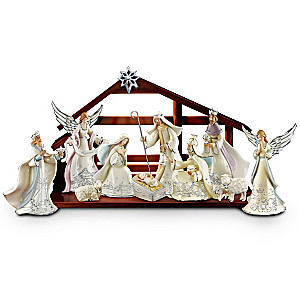 """Silver Blessings"" Porcelain Nativity Collection With Lights"