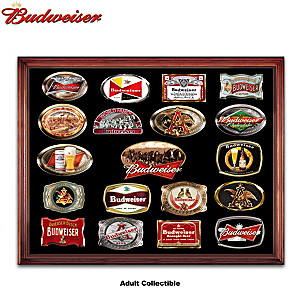Budweiser Belt Buckle Collection With Display Case And Belt