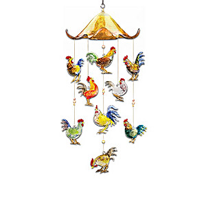 Hanging Art-Glass Rooster Sculpture With Glass Header