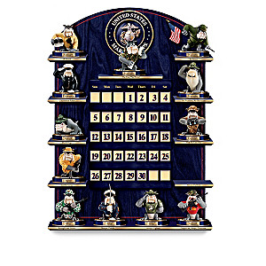 "USMC ""Perpetual Calendar"" With Devil Dog Figurines"