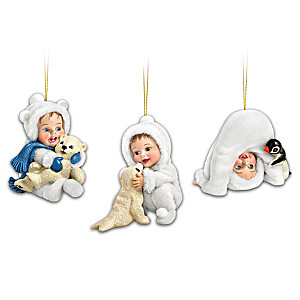 Sherry Rawn Winter-Themed Babies With Animals Ornaments