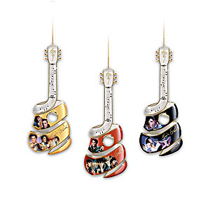Elvis Swirl-Shaped Guitar Ornaments With Elvis Portraits