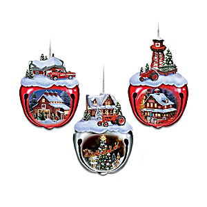 Farmall Jingle Bell Ornaments With Sculpted Farm Scenes
