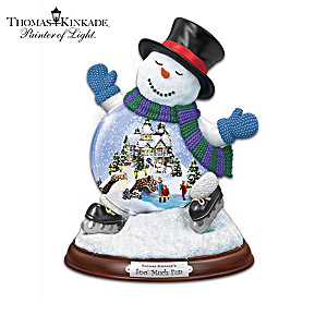 Thomas Kinkade Mini 3D Village Inside Snowman Snowglobe