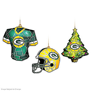 Stained Glass-Style Green Bay Packers Ornament Collection