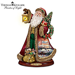 Thomas Kinkade Caroling Santa Figurine Collection