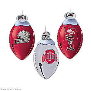 Ohio State Buckeyes Football-Shaped Bell Ornament Collection