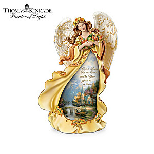"Thomas Kinkade ""Giving Thanks"" Illuminated Angel Figurines"