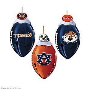 Auburn Tigers Football-Shaped Bell Ornament Collection