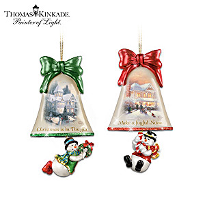 Thomas Kinkade Art SnowRingle Glass Bell Christmas Ornaments