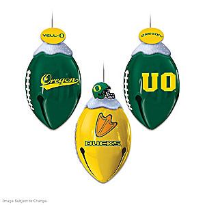 Football-Shaped Oregon Ducks Jingle Bell Ornaments