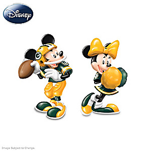 Mickey And Minnie Green Bay Packers Salt And Pepper Shakers