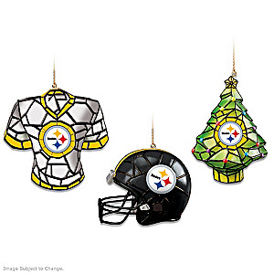 Stained Glass-Style Pittsburgh Steelers Ornament Collection