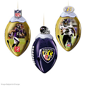 NFL-Licensed Ravens Jingle Bell Christmas Ornaments