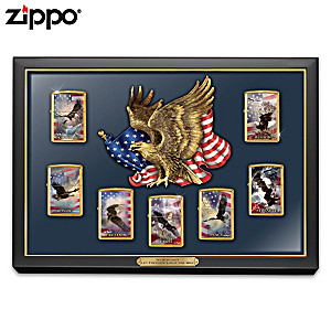 Ted Blaylock Patriotic Art Zippo Lighters With Display Case
